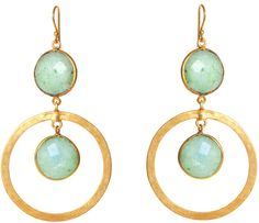 FEATHER & STONE Feather Stone Amazonite Circle Earrings