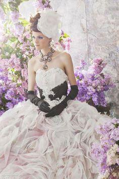 Wedding Gown. Flowers. Gloves