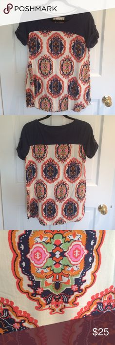 Anthropologie Top Adorable mixed media tee from Meadow Rue! Navy blue on top, boho print bottom, and fun tab short sleeves. Perfect for a casual day out with some sandals and shorts! Anthropologie Tops