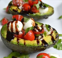 Grilled Caprese Salad Stuffed Avocado