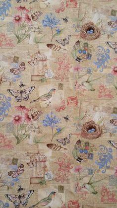 GARDEN WORDS Garden Collage Susan Winget Fabric
