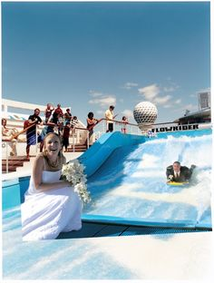 Where else can you catch a wave in your wedding attire? Royal Caribbean  Royal Weddings Call Welcome Aboard Cruises to book your amazing ship wedding today!