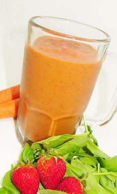 Fruit and Veggie Smoothie (strawberries, spinach, carrots, OJ, ice)