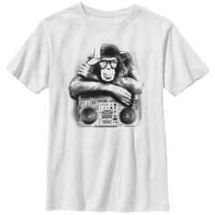 Lost Gods Boombox Chimp - Boys Graphic T Shirt, Boy's, Size: Large, White