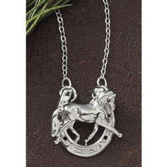 Horse in Horseshoe Necklace - Horse Themed Gifts, Clothing, Jewelry and Accessories all for Horse Lovers | Back In The Saddle