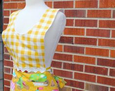 Glamping Full Apron in Yellow with Gingham