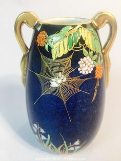 MaxSold - Auction: Hamilton Art and Antiques Online Auction - 1930's Carlton Ware Bleu Royale Spiders Web Vase