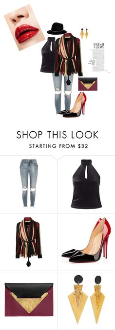 """never to late"" by lisavern ❤ liked on Polyvore featuring River Island, Miss Selfridge, Lanvin, Christian Louboutin, Dareen Hakim and Janessa Leone"