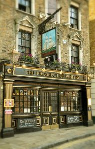 Prospect of Whitby Pub in London originally known as the Devil's Tavern, this historic public house was once a notorious haunt for smugglers, thieves and pirates. The Prospect of Whitby is considered one of London's oldest pubs, and there has been a tavern on the site since 1520