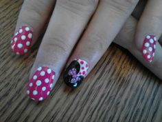 Minnie Mouse - nails by:a. Minnie Mouse Nails, Disney Nails, To My Daughter, Nail Ideas, Amber, Nail Designs, Nail Art, My Style, Beautiful