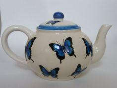 Teapot with blue butterflies by BonCreationz on Etsy