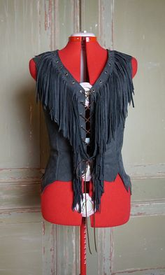 Hippie Chick Leather Fringe Vest or Top made to order in your size