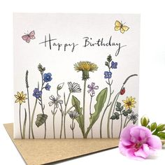 Watercolor Birthday Cards, Birthday Card Drawing, Flower Birthday Cards, Birthday Card Design, Watercolor Cards, Happy Birthday Cards, Flower Cards, Watercolour Painting, Paint Cards