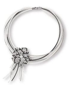 Chanel Camellia Tweed Necklace