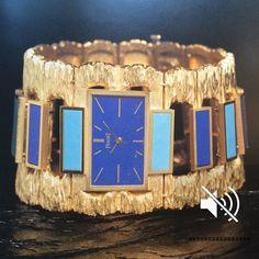 Piaget -1970- 18k Gold, Lapis- Lazuli and Jade watch .