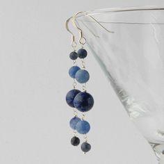 Long blue silver earrings (blue aventurine, sodalite and lapis) £15.00