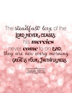 Good morning dear friend! 2016 is now behind us and 2017 before us...and the steadfast Love of the Lord never ceases, His mercies never come to an end, they are new every morning. GREAT IS YOUR FAITHFULNESS O LORD! AMEN! I love this scripture...and on this first day of the first month of 2017 is a beautiful song of worship to begin this New Year. Have a wonderfully blessed day today. Sending love and hugs. Noni. XOXO's