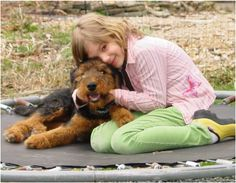 Kids and Puppies.  Rock Ranch Family Airedales