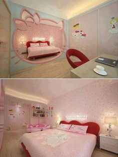 Hello Kitty Bedroom is one of the most popular interior theme for a girl's room. Hello Kitty bedroom requires simple and yet amazing decorative palette Hello Kitty Zimmer, Hello Kitty Haus, Hello Kitty Bedroom, Hello Kitty Cartoon, Cat Bedroom, Girls Bedroom, Bedrooms, Girl Bedroom Designs, Bedroom Themes
