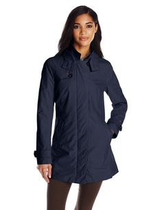 Tommy Hilfiger Women's Hooded Rain Coat, Navy, Large