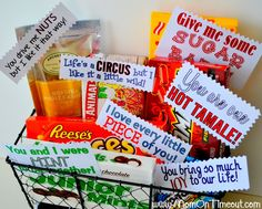 """Your significant other will love this """"sweet"""" basket filled with a variety of candy and cute sayings. Ex. """"You are one Hot Tamale!"""""""