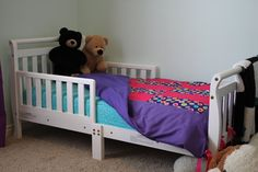 Repurpose bumper pads into a toddler size duvet cover.  Tutorial.