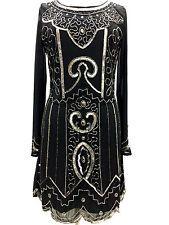 negro largo manga embellecida Años 1970 vestido recto tallas 8 10 12 14 16 18 20
