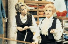 Wendy Richard - as Miss Brahms and Mollie Sugden - as Mrs Slocombe in Are You Being Served, 1972 - British Tv Comedies, Classic Comedies, British Comedy, British Actors, English Comedy, Are You Being Served, British Humor, Comedy Tv, Tv On The Radio