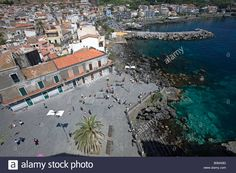 Aerial view of Acicastello, Sicily, Italy Stock Photo