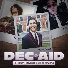 @darrencriss I'm cordially inviting you to join me for...DEC•AID...a cozy at-home livestream concert for charity featuring songs, stories, never-seen-before behind-the-scenes content, and special auction items from the good ol' Glee days! Saturday, November 28 @ 1pm PST / 4pm EST / 9pm GMT / 8am AEDT (Sun) Sag Awards, Auction Items, Darren Criss, Good Ol, Glee, Behind The Scenes, Fangirl, Songs, Concert