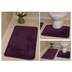 Bolero Machine Washable Bathroom Rugs Non Slip Plain Pedestal Toilet Bath Mats