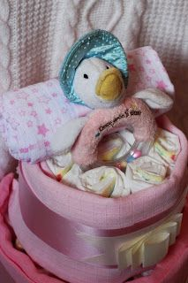 Nappy cake jamima puddle duck by zebrog baby gifts and accessories https://www.facebook.com/ZebrogBaby baby gift, nappy cake, babyshower baby shower