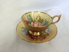 Aynsley England Handpainted Signed Bailey Teacup and Saucer Gold Exterior Flower #Aynsley
