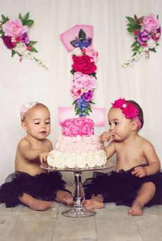 My twin girls first birthday cake smash!