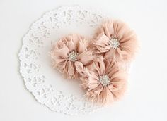 "3 pcs - BEIGE Shabby Flowers with rhinestone buttons - Chiffon Frayed Flower - Fabric Flower - 2.4"" Flowers - Wholesale Fabric Flower"