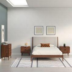 Scandinavian Interior Bedroom, Scandi Bedroom, Scandinavian Style Home, Industrial Bedroom, Bohemian Interior, Large Bedroom, Scandinavian Design, Industrial Design, Mid Century Modern Bedroom