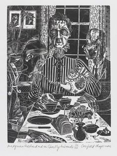 Mrs Ogmore Pritchard and Her Two Ghostly Husbands,  June Crisfield Chapman, print, 1960s   V&A Search the Collections #Halloween #Art