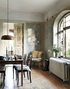via dustjacket attic: Lazy Sunday. Dreamy, textured, bright diningroom of my dreams.