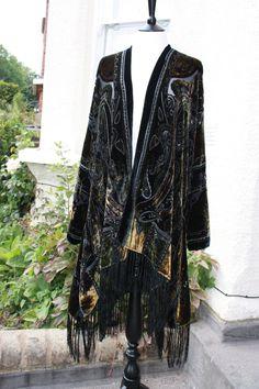 Hand Made Paisley Fringed Long Kimono Jacket Devore Burnout Velvet 1920s  Boho Hippie NEW STYLE - A0432 via Etsy