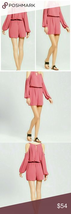 NWT Women's Embellished cold Shoulder Romper Large Brand new with tags women's cold shoulder romper. Soft Rose women's size large has a small keyhole in the front and small keyhole in the back one piece lightly embellished for just the perfect touch not overdone super pretty  25% off on bundles  Inventory # 217 Pants Jumpsuits & Rompers