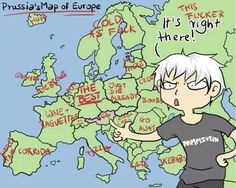 Prussia - Hetalia- I laughed at every one of these. Russia didn't surprise me one bit. <-- He is also wearing a rammstein shirt OMG my dad will love him instantly because of that