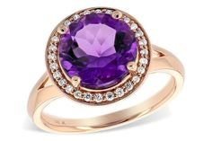 14k Rose Gold Amethyst Ring with Diamond Halo