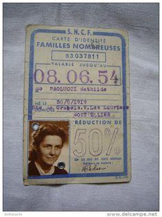 Carte SNCF familles nombreuses 1954 Paolucci Mathilde Montpellier Nîmes - Delcampe.net