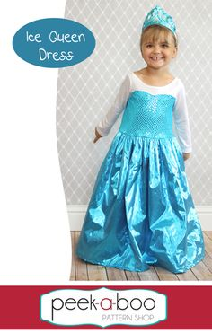Free Ice Queen Dress-Up - Peek-a-Boo Pattern Shop She had lots of others princess dresses, too Toddler Dress Patterns, Sewing Patterns For Kids, Sewing For Kids, Free Sewing, Sewing Ideas, Pdf Patterns, Sewing Hacks, Clothing Patterns, Frozen Dress