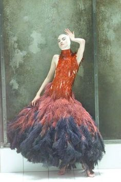 Fancy feathers: a flapper-esque gown from spring/summer 2001, modelled by Erin O'Connor.
