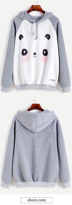 Cute panda print hooded sweatshirt.