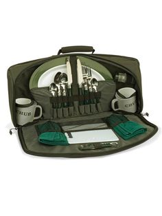 Perfect cutlery set for stream side, water's edge or an afternoon in the park.  The Greedy Pig Session Bag is a new and cleverly designed pouch with two complete cutlery sets, two mugs, two plates, a bottle opener and two hand towels. The low profile is practical and fits easily into the top of carryalls and travel bags. #taiganholiday