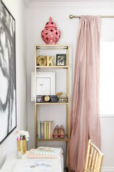 Beauty in the details | Blogger Mara Ferreira of M Loves M used our Silk Shantung Window Panels in her stylish office makeover | via @marmar #serenaandlily
