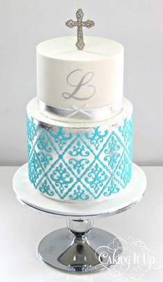 Christening/communion cake for boys Fancy Cakes, Cute Cakes, Christening Cake Boy, Boy Baptism, Religious Cakes, Confirmation Cakes, First Communion Cakes, Occasion Cakes, Cakes For Boys