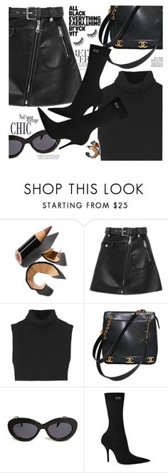 """Head-to-toe black is a classic"" by indhrios ❤ liked on Polyvore featuring Bobbi Brown Cosmetics, Maje, Victoria Beckham, Chanel, Forever 21 and Balenciaga"
